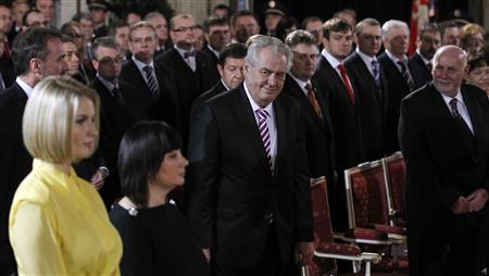 Newly elected Czech President Milos Zeman looks at his wife Ivana and daughter Katerina (L) as he arrives to Vladislav Hall at Prague Castle to attend the inauguration ceremony in Prague, March 8, 2013. REUTERS/Petr Josek