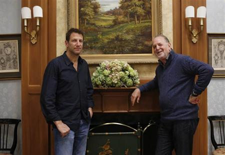 Producers (L to R) Rich Frank and Jef Kwantinetz pose on the set of soap opera ''One Life to Live'' in Stamford, Connecticut April 12, 2013. In a bold wager to revive canceled ABC soaps ''All My Children'' and ''One Life to Live,'' two veteran Hollywood producers are taking the 40-year-old dramas online and remaking them for lifelong fans and a younger, internet-savvy audience. Starting April 29, new 30- minute episodes will appear each Monday through Thursday on the free, advertising-supported Hulu.com website and the paid monthly subscription service Hulu Plus. REUTERS/Shannon Stapleton