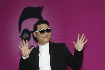 South Korean rapper Psy poses during a news conference before his concert in Seoul April 13, 2013. REUTERS/Lee Jae-Won