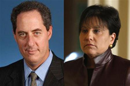 White House deputy national security adviser for international economic affairs Mike Froman and Chicago businesswoman and Obama fundraiser Penny Pritzker in combination photo. REUTERS/State Department/Files