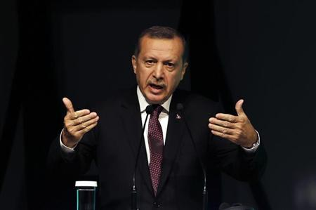 Turkey's Prime Minister Tayyip Erdogan makes a speech during the Global Alcohol Policy Symposium in Istanbul April 26, 2013. REUTERS/Murad Sezer