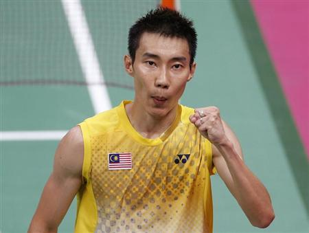 Malaysia's Lee Chong Wei celebrates a point in the second game of his men's singles badminton gold medal match against China's Lin Dan at the London 2012 Olympic Games at the Wembley Arena August 5, 2012. REUTERS/Bazuki Muhammad/Files