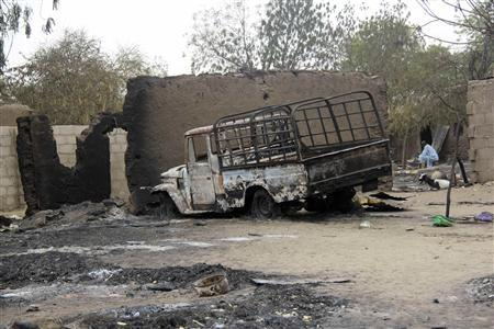 A vehicle used by Islamist militants is pictured damaged after what Nigerian authorities said was heavy fighting between security forces and the militants in Baga, a fishing town on the shores of Lake Chad, adjacent to the Chadian border, April 21, 2013. REUTERS/Stringer