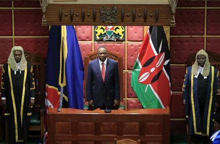 Kenya's President Uhuru Kenyatta attends the opening of the 11th Parliament in the capital Nairobi April 16, 2013. REUTERS/Noor Khamis
