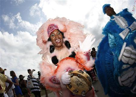 A Mardi Gras Indian parades during the New Orleans Jazz and Heritage Festival in New Orleans, Louisiana April 26, 2013. REUTERS/Jonathan Bachman