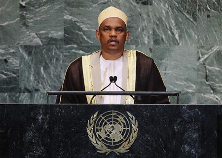 Ikililou Dhoinine, President of the Union of the Comoros, addresses the 67th United Nations General Assembly at the U.N. Headquarters in New York, September 27, 2012. REUTERS/Lucas Jackson