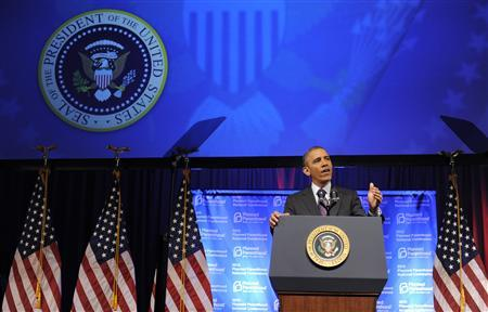 U.S. President Barack Obama speaks at the Planned Parenthood National Conference at the Marriott Wardman Park Hotel in Washington April 26, 2013. REUTERS/Mike Theiler