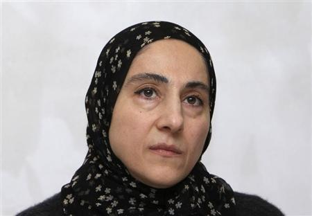 Zubeidat Tsarnaeva, mother of Tamerlan and Dzhokhar Tsarnaev - the two men suspected of carrying out the Boston bombings, attends a news conference in Makhachkala April 25, 2013. REUTERS/Stringer