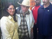 Former Cuban leader Fidel Castro meets Venezuela's First Lady Cilia Flores in Havana, in this picture provided by Venezuela's President Nicolas Maduro via Twitter on April 27, 2013. REUTERS/Venezuela's President Nicolas Maduro via Twitter/Handout