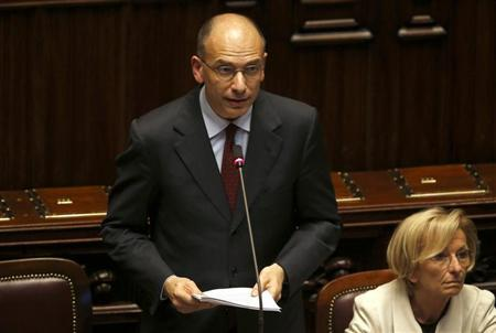Newly appointed Italian Prime Minister Enrico Letta speaks at the Lower house of the parliament in Rome, April 29, 2013. REUTERS/ Alessandro Bianchi