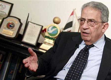 Opposition leader Amr Moussa, 76, a former Arab League secretary-general and Egyptian foreign minister, talks to Reuters during an interview in Cairo, April 29, 2013. REUTERS/Mohamed Abd El Ghany