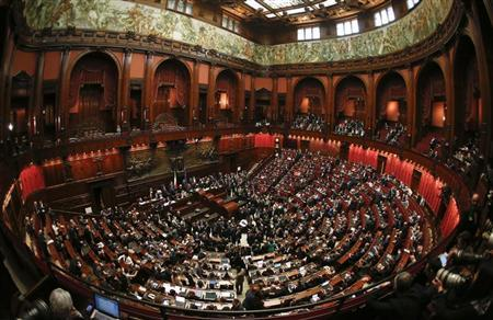 The lower house of the parliament is seen before the start of the vote for the new president in Rome April 18, 2013. REUTERS/Tony Gentile