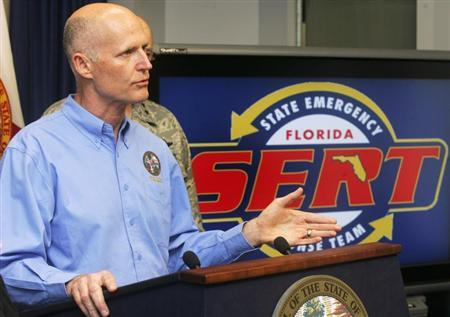 Florida Governor Rick Scott holds a news conference at the State Emergency Operations Center in Tallahassee, Florida, August 27, 2012. REUTERS/Phil Sears
