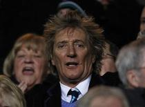 British singer Rod Stewart reacts ahead of the Champions League soccer match between Celtic and Juventus at Celtic Park stadium in Glasgow, Scotland February 12, 2013. REUTERS/David Moir