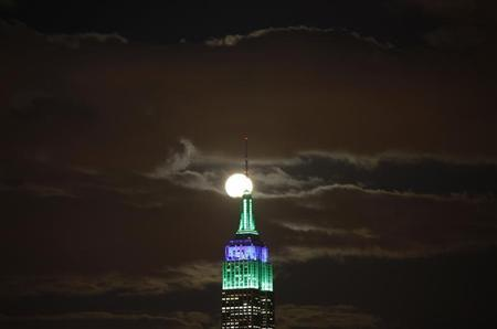 A full moon rises behind the Empire State Building in New York as seen from a park along the Hudson River in Hoboken, New Jersey, February 25, 2013. REUTERS/Gary Hershorn