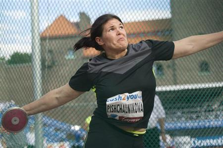 Darya Pishchalnikova of Russia competes in the women's discus event during the Stockholm Diamond League in Stockholm August 17, 2012. REUTERS/Fredrik Sandberg/Scanpix/Files