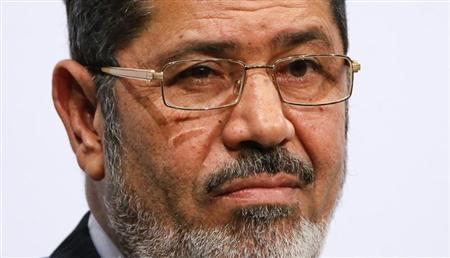 Egypt's President Mohamed Mursi gives a speech at the Koerber foundation for social challenge in Berlin January 30, 2013. REUTERS/Fabrizio Bensch