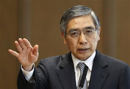 Bank of Japan's (BOJ) Governor Haruhiko Kuroda speaks during the upper house Financial Affairs committee of the Parliament in Tokyo, in this March 28, 2013 file picture. REUTERS/Yuya Shino/Files