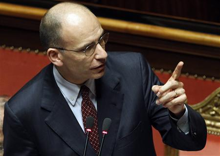 Italian Prime Minister Enrico Letta gestures at the Upper house of the parliament in Rome, April 30, 2013. REUTERS/Giampiero Sposito