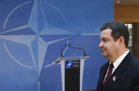 Serbian Prime Minister Ivica Dacic arrives at NATO headquarters after meeting Kosovo's Prime Minister Hashim Thaci (not pictured) and European Union foreign policy chief Catherine Ashton (not pictured), in Brussels April 19, 2013. REUTERS/Francois Lenoir