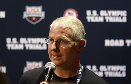 Bob Bowman, swimming coach for Michael Phelps, speaks during a news conference in Omaha, Nebraska, July 2, 2012. REUTERS/Jeff Haynes