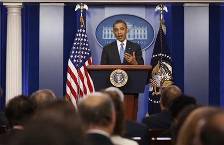 U.S. President Barack Obama talks to the media in the Brady Press Briefing Room at the White House in Washington, April 30, 2013. REUTERS/Larry Downing