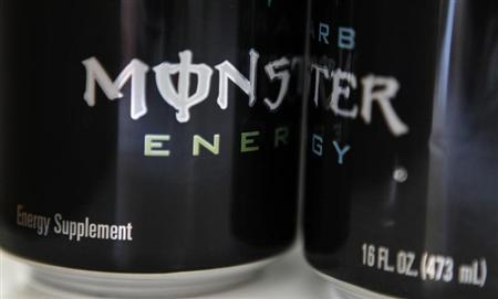 Two cans of Monster energy drink are shown in this photo illustration in Los Angeles October 23, 2012. REUTERS/Sam Mircovich
