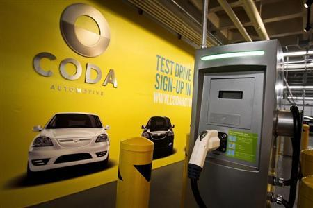 A General Electric car charging station for one of the first all-electric CODA EV cars is pictured in the parking structure at the Westfield Century City Mall in Los Angeles, California March 16, 2012. REUTERS/Bret Hartman