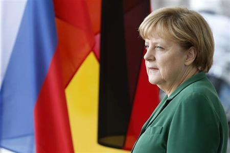 German Chancellor Angela Merkel awaits the arrival of Slovenian President Borut Pahor for talks in Berlin April 25, 2013. REUTERS/Tobias Schwarz