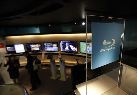 The trademark of Blu-ray Disc is seen at Sony's showroom in Tokyo February 22, 2012. REUTERS/Kim Kyung-Hoon