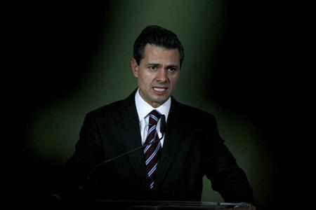 Mexico's President Enrique Pena Nieto speaks during a news conference at the Art museum in San Jose February 19, 2013. Nieto is on an official visit to Costa Rica, where he will meet with Central American presidents. REUTERS/Juan Carlos Ulate