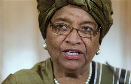 Liberia's President Ellen Johnson Sirleaf speaks to the media following a UN High Level panel meeting at Number 10 Downing Street, London November 1, 2012. REUTERS/Leon Neal/Pool