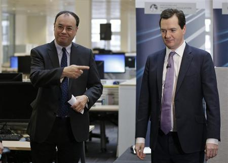 Andrew Bailey (L) the Chief Executive of the Prudential Regulation Authority, points to Britain's Chancellor of the Exchequer George Osborne during the opening of the PRA in central London April 2, 2013. REUTERS/Lefteris Pitarakis/POOL