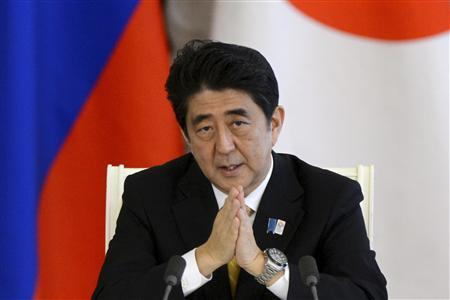 Japan's Prime Minister Shinzo Abe attends a news conference after talks with Russia's President Vladimir Putin at the Kremlin in Moscow April 29, 2013. REUTERS/Kirill Kudryavtsev/Pool