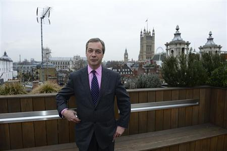 UK Independence Party leader Nigel Farage poses in central London January 25, 2013. REUTERS/Paul Hackett