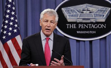 U.S. Defense Secretary Chuck Hagel speaks during a joint news conference with Japanese Defense Minister Itsunori Onodera at the Pentagon in Washington April 29, 2013. REUTERS/Kevin Lamarque