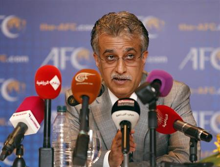 New Asian Football Confederation (AFC) President Sheikh Salman Bin Ebrahim Al Khalifa speaks during a news conference during an AFC Extraordinary Congress in Kuala Lumpur May 2, 2013. REUTERS/Bazuki Muhammad