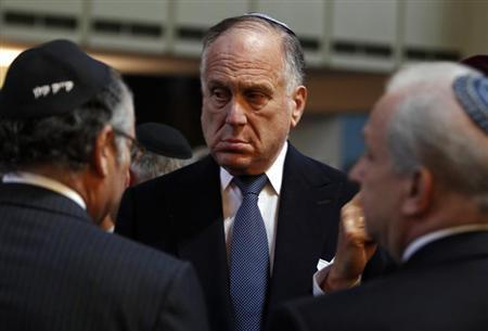 World Jewish Congress (WJC) President Ronald Lauder (C) waits for the start of an ordination ceremony at the Roonstrasse Synagogue in Cologne September 13, 2012. REUTERS/Ina Fassbender