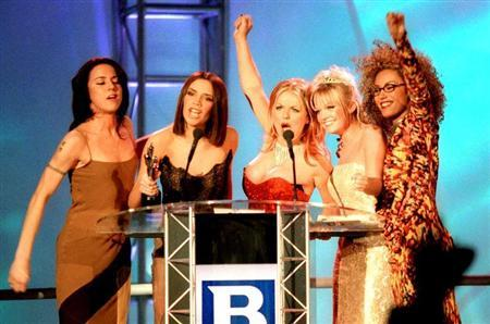 File photo showing the Spice Girls receiving their award at the Brit Awards, the UK's premier music awards at Earls Court in London, southern England, February 24, 1997. REUTERS/Kieran Doherty