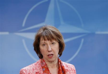 European Union foreign policy chief Catherine Ashton talks to the media as she arrives at NATO headquarters after meeting Kosovo's Prime Minister Hashim Thaci (not pictured) and Serbian Prime Minister Ivica Dacic (not pictured), in Brussels April 19, 2013. REUTERS/Francois Lenoir