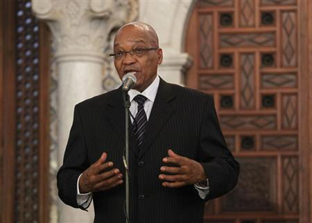 South Africa President Jacob Zuma answers questions from journalists after his meeting with Algerian President Abdelaziz Bouteflika (not pictured) at the Presidential Palace in Algiers April 15, 2013. REUTERS/Louafi Larbi