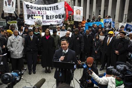 New York City Comptroller and mayoral candidate John Liu speaks in support of a demonstration against the New York Police Department's ''stop and frisk'' crime-fighting tactic outside of Manhattan Federal Court in New York, March 18, 2013. REUTERS/Lucas Jackson