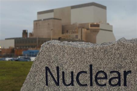 A sign is seen outside EDF Energy's Hinkley Point B nuclear power station in Bridgwater, southwest England December 13, 2012. REUTERS/Suzanne Plunkett