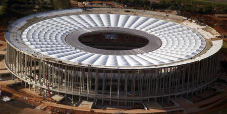 A general view of the National Mane Garrincha Stadium, seen under construction in Brasilia April, 28, 2013. The stadium will be one of the venues for the 2013 Confederations Cup and the 2014 World Cup. REUTERS/Ueslei Marcelino