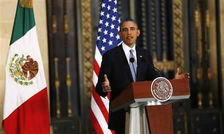 U.S. President Barack Obama speaks during a joint news conference with his Mexican counterpart Enrique Pena Nieto (not pictured) at the National Palace in Mexico City May 2, 2013. REUTERS/Kevin Lamarque