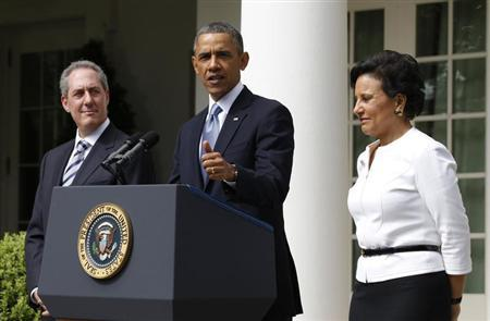 U.S. President Barack Obama announces Penny Pritzker (R) as his nominee for U.S. Secretary of Commerce and economic adviser Mike Froman (L) for U.S. Trade Representative, in the Rose Garden of the White House in Washington, May 2, 2013. REUTERS/Jason Reed