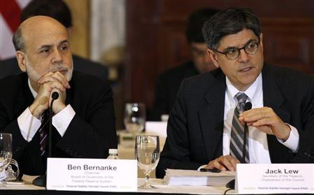 U.S. Treasury Secretary Jack Lew (R) and Chairman of the Federal Reserve Bank Ben Bernanke (L) attend the Treasury Department's Financial Stability Oversight Council in Washington April 25, 2013. REUTERS/Gary Cameron