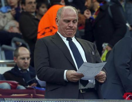 Bayern Munich's President Uli Hoeness waits for the start of the Champions League semi-final second leg soccer match against Barcelona at Camp Nou stadium in Barcelona May 1, 2013. REUTERS/Sergio Perez