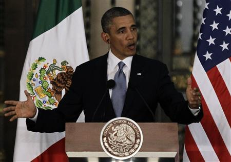 U.S President Barack Obama speaks beside Mexico's President Enrique Pena Nieto (not pictured) during a news conference after attending a bilateral meeting at the National Palace in Mexico City May 2, 2013. REUTERS/Henry Romero