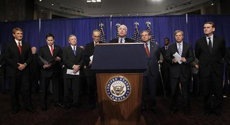 The U.S. Senate's ''Gang on Eight'' are pictured during a news briefing on Capitol Hill in Washington, April 18, 2013. REUTERS/Jason Reed